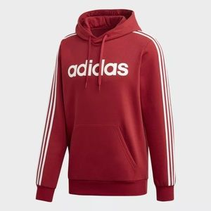 Adidas 3-striped (Red) Pullover Hoodie Medium Size